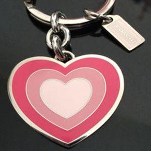 NEW Coach Signature Pink Enamel Heart Key Chain